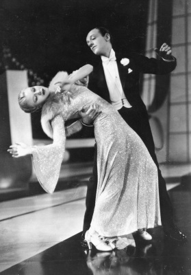 The actor Fred Astaire and Ginger Rogers in a scene from the movie