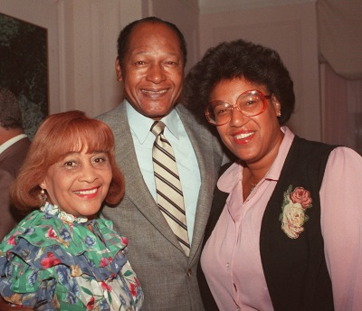Los Angeles Mayor Tom Bradley, is shown with his wife, Ethel, left, and daughter, Lorraine, while visiting with election supporters in Los Angeles during his failed bid for the governorship of California in this June 1986 photo. (AP Photo/Lennox McLendon)