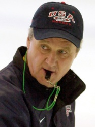 United States Olympic men's hockey team coach Herb Brooks watches his team go through drills during practice at Acord Arena in West Valley City, Utah, Feb. 21, 2002. (AP Photo/Darron Cummings)
