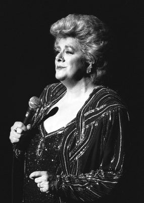 Singer Rosemary Clooney performs in Paris, Texas, on April 7, 1987. Clooney died in California at age 74 from complications of lung cancer. Her publicist says her family was with her when she died at home in Beverly Hills Saturday, June 29, 2002. (AP Photo/Bob Galbraith)