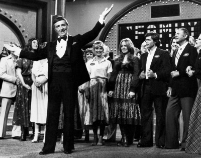 In this May 8, 1978 file photo, Richard Dawson, foreground, is in his familiar role as host of