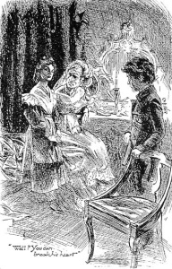 Estella, Miss Havisham and Pip in Great Expectations, illustration by H. M. Brock (Wikimedia Commons)