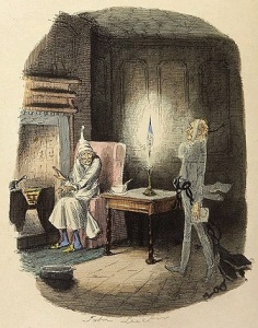 Ebenezer Scrooge and Marley's Ghost from A Christmas Carol, Illustration by John Leech (Wikimedia Commons)