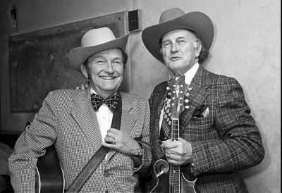 Bill Monroe, right, the father of bluegrass music, is shown with one of his disciples, Lester Flatt, backstage at the Grand Ole Opry House in Nashville, Tenn., in a March 1974 photo. (AP Photo/Nashville Banner, Don Foster, File)