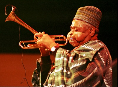 Dizzy Gillespie plays his trumpet on the main stage during the Monterey Jazz Festival in Sept. 1990 (AP Photo/Eric Risberg)