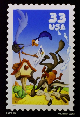 The U.S. Postal Service announced Wednesday Oct. 13, 1999 the designs for some of its 2000 postage stamps including one honoring the ever-frustrated Wile E. Coyote and his nemisis Road Runner. (AP Photo/USPS)