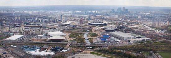 Aerial view of London's Olympic Park (Wikimedia Commons/EG Focus)