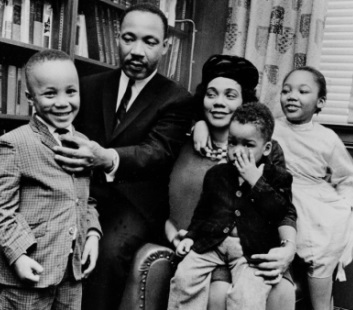 Dr. Martin Luther King Jr. and his wife, Coretta Scott King, sit with three of their four children in their Atlanta, Ga., home, on Mar. 17, 1963. From left are: Martin Luther King III, 5, Dexter Scott, 2, and Yolanda Denise, 7. After her husband's assassination on Apr. 4, 1968, Coretta Scott King raised their children alone and carried on the fight for civil rights. She died of ovarian cancer on Jan. 30, 2006. Daughter Yolanda died on May 15, 2007. (AP Photo)