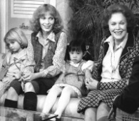 Actress Maureen O'Sullivan, right, and her daughter Mia Farrow appear on ABC-TV's 'Good Morning America' with Farrow's children, Fletcher, 6, left, and Summer Song, 5, in this May 5, 1980 photo. O'Sullivan, the Irish-born beauty who starred as Jane in a string of Tarzan films, died June 22, 1998, at age 87.  (AP Photo)