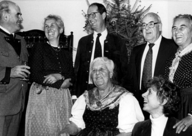 Members of the Von Trapp family gather in January 1984 in Stowe, Vt., to celebrate the 76th birthday of Maria Von Trapp, seated center. Her family members are standing from left: Werner; Eleonore; Johannes; Rupert; Maria; and seated right, Rosemarie. The singing matriarch died of heart failure on Mar. 28, 1987. (AP Photo / Toby Talbot)