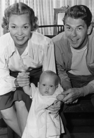 Actors Jane Wyman and Ronald Reagan, described as among Hollywood's happily-married couples, are holding their 9-month-old daughter Maureen Elizabeth, on September 13, 1941, at their Hollywood, Calif., home. Less than seven years later, the couple divorced. Jane Wyman died in her sleep at age 90 on Sept. 10, 2007. She outlived both her ex-husband (who died on June 5, 2004) and daughter Maureen (who died of melanoma on Aug. 8, 2001). (AP Photo)