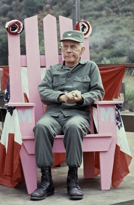 In this Sept. 19, 1982 photo, Actor Harry Morgan sits on the set of