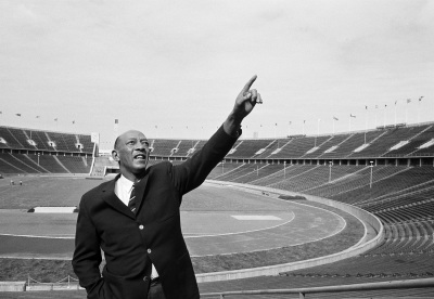 This is a June 9, 1964, file photo showing Jesse Owens making a nostalgic visit to the scene of his great 1936 Olympic triumph in Berlin, Germany. T (AP Photo/File)