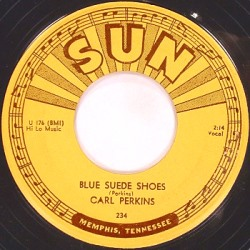 Record of Blue Suede Shoes by Carl Perkins (Wikimedia Commons/Sun Records)