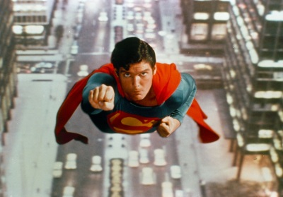 The American actor Christopher Reeve as Superman in the film