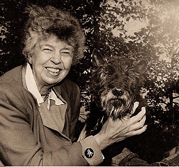 Eleanor Roosevelt and Fala (Wikimedia Commons/FDR Library)