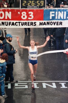 In an Oct. 23, 1983 file photo Grete Waitz , of Norway, crosses the finish line to win the New York City marathon. Waitz broke the tape with a time of 2:26:59. Grete Waitz, who won nine New York City Marathons and a silver medal at the 1984 Olympics, died Tuesday April 19, 2011 after a six-year battle with cancer, Norway's athletics federation said. She was 57. (AP Photo/file)