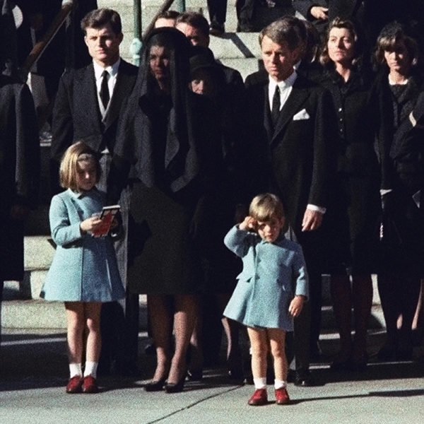 Jackie Kennedy and children at funeral for JFK