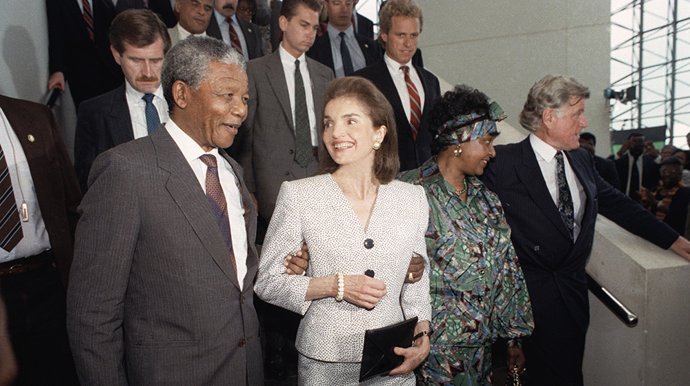Jackie Kennedy Onassis with Nelson Mandela in 1990