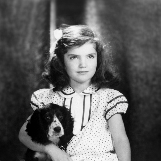 Jacqueline Bouvier in 1935 with dog